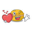 with heart macarons banana on in character funny vector image