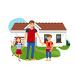 young father with son and daughter flat vector image vector image