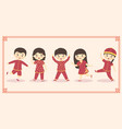 cute chinese kids boy girl costume set vector image