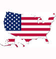 Map of the USA with national flag vector image