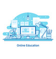 e-learning education online line design concept vector image