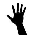 adult hand silhouette with baby hand silhouette vector image vector image