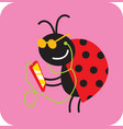 cheerful beetle listens to music on a smartphone vector image vector image