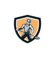 Coal Miner Hardhat Shovel Shield Retro vector image vector image