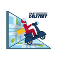 courier delivery with box package in the motocycle vector image vector image
