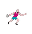 Discus Thrower Side Isolated Cartoon vector image vector image