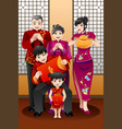 family celebrating chinese new year vector image vector image