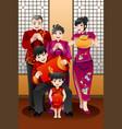 family celebrating chinese new year vector image