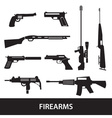 firearms weapons and guns icons eps10 vector image