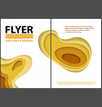 flyer paper cut style design with yellow layers vector image vector image