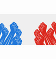 group red raised fists against group blue vector image vector image