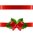 holly berry ribbon vector image vector image