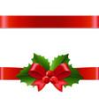 holly berry ribbon vector image