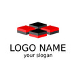 isometric logo four squares of black and red vector image