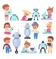 kids with robots cartoon children invent vector image vector image