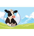 label with a cow on a background nature vector image