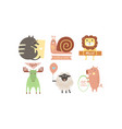 lovely animals with banners set cute cat snail vector image
