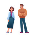 man and woman elderly middle age casual cloth vector image