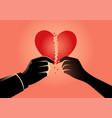 man and woman hands holding broken heart symbol vector image