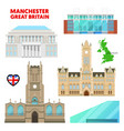 Manchester travel set with architecture