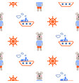 marine boy pattern with sailor dog seamless vector image vector image
