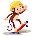 Monkey playing on skateboard vector image vector image