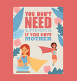 mother and child typography poster vector image vector image