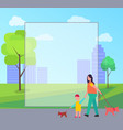 mother and son walking little dogs vector image vector image