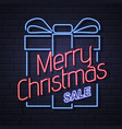 neon sign merry christmas on brick wall background vector image vector image