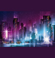 night cityscape with illuminated buildings and vector image