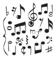 notes music hand drawn muzician staff vector image vector image