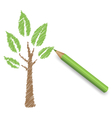 Pencil draws green tree Eco spring floral vector image