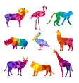 polygonal animals low poly zoo silhouettes of vector image