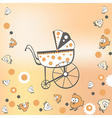 pram and birds vector image vector image