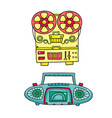 retro musical equipment a collection of stylish vector image
