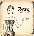 Retro party invitation design vector image vector image