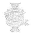Samovar coloring book for adults vector image