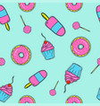 seamless pattern with donuts ice-cream and vector image