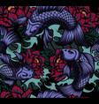 seamless pattern with koi carp vector image