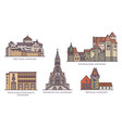 set liechtenstein old architecture in thin line vector image vector image