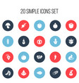 set of 20 editable food icons includes symbols vector image vector image