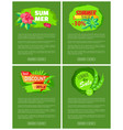 set web posters summer sale emblems exotic flowers vector image vector image