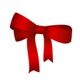 shiny red satin gift bow close up isolated on vector image