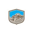 Snow Plow Truck Shield Retro vector image vector image