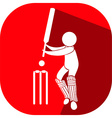 Sport icon design for cricket on red badge vector image vector image
