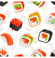 sushi and rolls seamless pattern japanese food vector image vector image