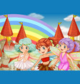 three fairies and rainbow background vector image vector image