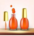 vial of orange nail polish female cosmetic vector image