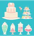 wedding cakes fresh tasty dessert sweet pastry pie vector image vector image