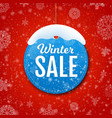 winter sale banner with snow vector image